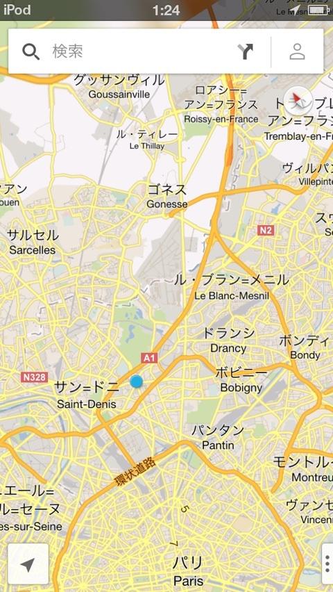 パリ市内からシャルル・ド・ゴール空港までの地図